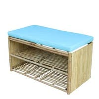 Zew Hand Crafted Bamboo Shelf/Shoe Rack Entryway Bench