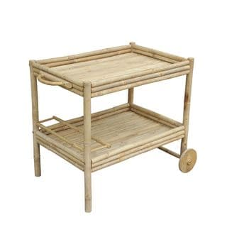 Zew Natural Finish Hand-crafted Bamboo Wine Cart Server on Wheels