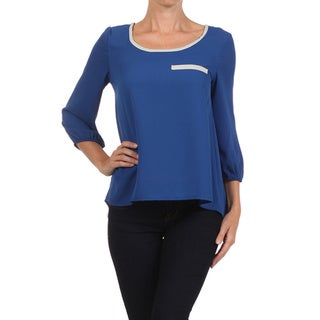 MOA Collection Women's Colored Strip Top with Bubble Sleeves