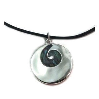 Mama Designs Handmade Brighly Polished Abalone Simple Design Necklace