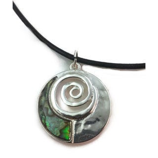 Mama Designs Handmade Brighly Polished Abalone Swirl Design Necklace