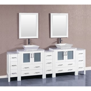 Bosconi AW230SQCM3S 96 Inch Double Vanity With Mirrors And Faucets
