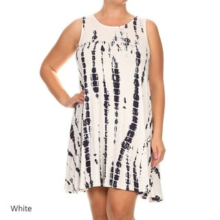 MOA Collection Women's White/Red Rayon/Spandex Sleeveless Tie-dye Dress