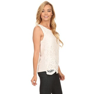 MOA Collection Women's White Polyester/Spandex Sleeveless Crochet Lace Top