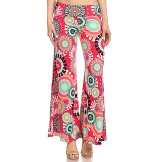 MOA Collection Pallazo Women's Multi-Color Polyester and Spandex Medallion Floral Pants