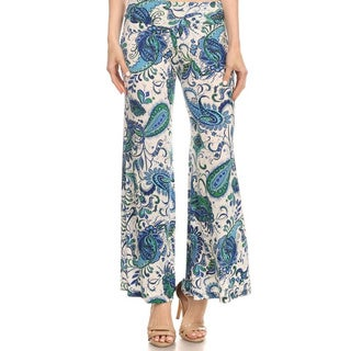 MOA Collection Women's Blue/Orange Polyester Spandex Paisley Pants