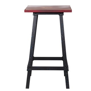 Adeco Distressed Red Metal Accent Table