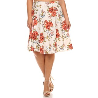 MOA Collection Women's Polyester and Spandex Plus-size Floral Flare Skirt (Option: White)