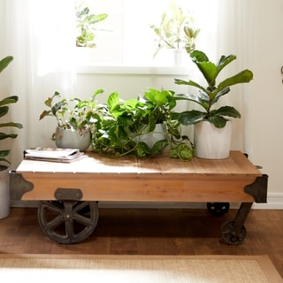 Utility Item Used Often Natural Wood Cart Coffee Table