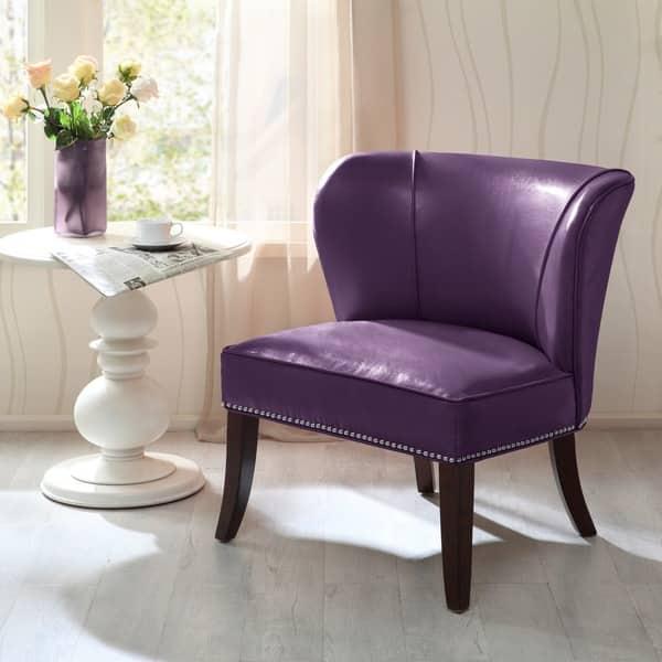 Amazing Shop Madison Park Sheldon Purple Armless Accent Chair On Machost Co Dining Chair Design Ideas Machostcouk