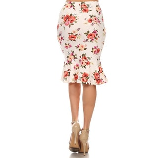 MOA Collection Women's Floral Mid-length Mermaid Skirt