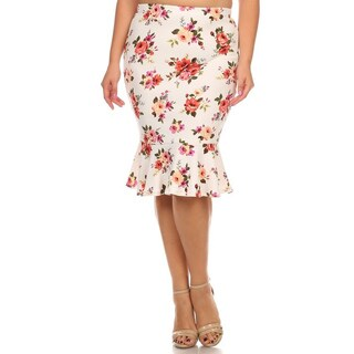 MOA Collection Women's Plus Size Floral Skirt