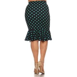 MOA Collection Women's Black, Green Polyester and Spandex Polka Dot Print Plus Size Skirt