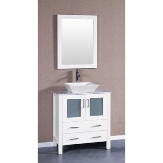Bosconi AW130SQCM 30-inch Single Vanity with Mirror and Faucet