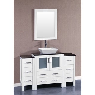 Bosconi AW130SQBG2S 54-inch Single Vanity with Mirror and Faucet