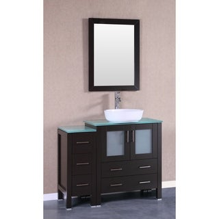 Bosconi AB130BWLCWG1S 42-inch Single Vanity with Mirror and Faucet