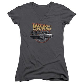 Back To The Future/Time Machine Junior V-Neck in Charcoal