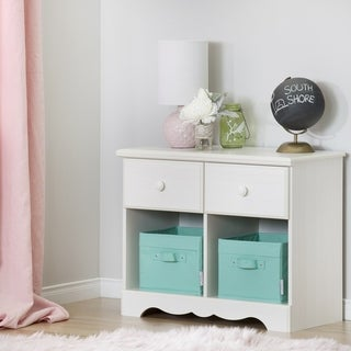 South Shore Summer Breeze Washed Blue/Brown Laminate 2-drawer Double Nightstand