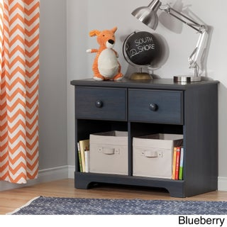 South Shore Summer Breeze Washed Blue/Brown Laminate 2-drawer Double Nightstand (Option: Blue - Blue Finish)