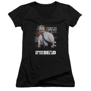 Shaun Of The Dead/Hero Must Rise Junior V-Neck in Black