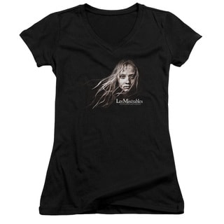 Les Miserables/Cosette Face Junior V-Neck in Black