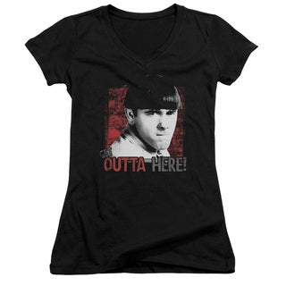 Three Stooges/Get Outta Here Junior V-Neck in Black