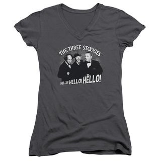 Three Stooges/Hello Again Junior V-Neck in Charcoal