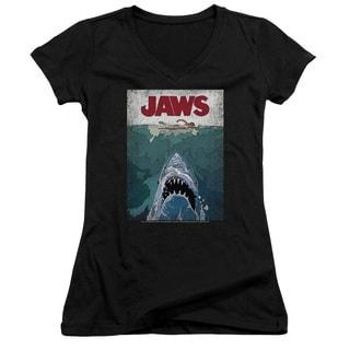 Jaws/Lined Poster Junior V-Neck in Black