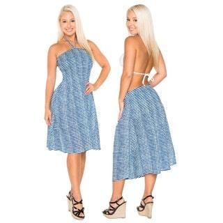 La Leela 100-percent Cotton Pretty Lining Allover Beach Short Tube Dress Halter Blue