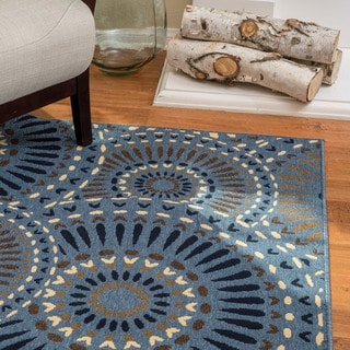 Christopher Knight Home Roxanne Lacy Indoor/Outdoor Geometric Blue Rug (7' x 10')
