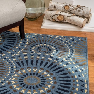 Christopher Knight Home Roxanne Lacy Indoor/Outdoor Geometric Blue Rug (8' x 10')