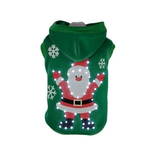 Pet Life Green Polyester/Cotton LED Lighted Hands Up Santa Dog Sweater