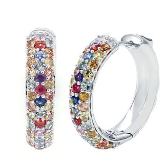 Sterling Silver 4.70ctt Round Multi Saphhire Round Hoop Earrings
