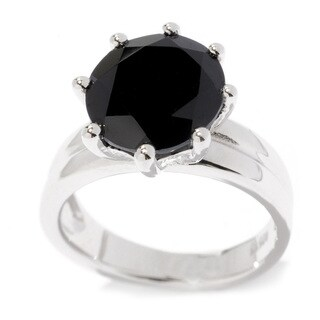 Sterling Silver 11 mm Round Black Spinel Solitaire Ring