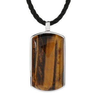 Sterling Silver 39 x 21mm Tiger Eye Tag Pendant Necklace.