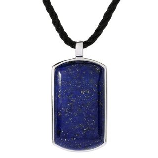 Sterling Silver 39 x 21mm Lapis Dog Tag Pendant Necklace