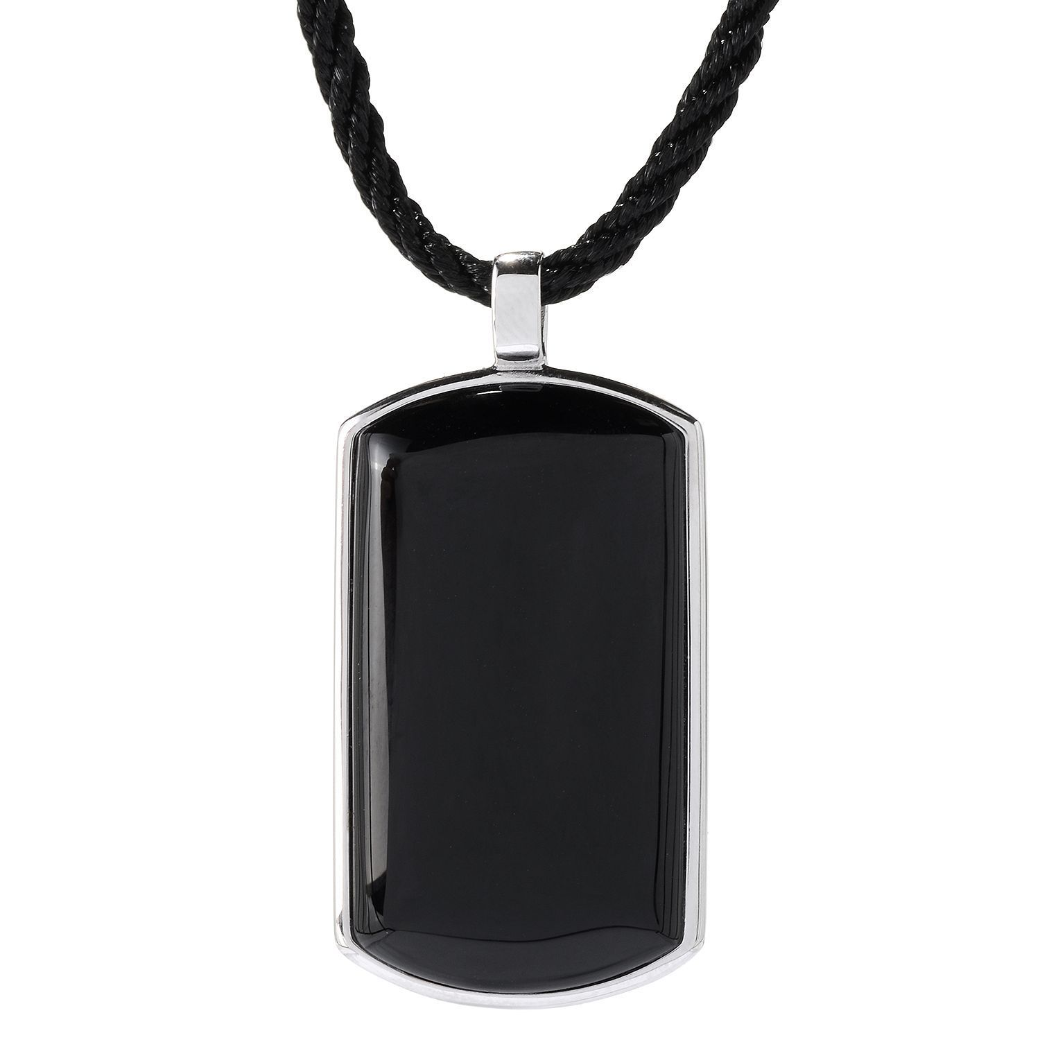 V3 Designs Sterling Silver 39 x 21mm Black Agate Tag Pend...