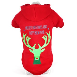 Pet Life Red Cotton/Polyester LED Lighting Christmas Reindeer Dog Sweater
