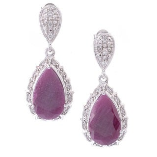 Sterling-silver Ruby and Topaz Earrings