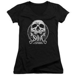 Sons Of Anarchy/Soa Club Junior V-Neck in Black