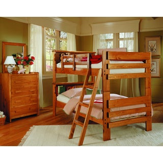 Woodcrest Heartland Pine Finish Bookcase Bunk Bed