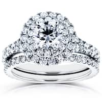 Annello by Kobelli 14k White Gold 2 1/3ct TDW Diamond Double Halo Cathedral Bridal Set