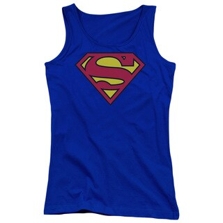 Superman/Classic Logo Juniors Tank Top in Royal Blue