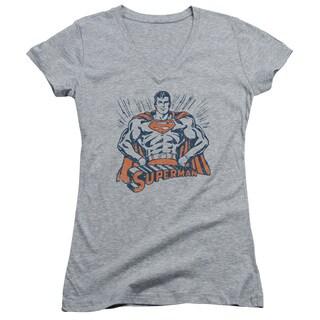 Superman/Vintage Stance Junior V-Neck in Athletic Heather