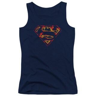 Superman/Super Distressed Juniors Tank Top in Navy