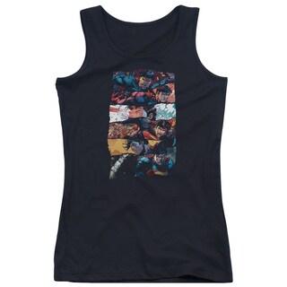 Superman/Torn Collage Juniors Tank Top in Black