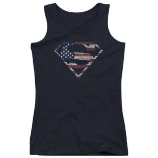 Superman/Wartorn Flag Juniors Tank Top in Black
