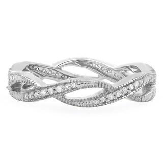 Elora Ladies' 14-karat Gold 1/4-carat TDW Round-cut I-J, I2-I3 Diamond Millgrain Stackable Anniversary or