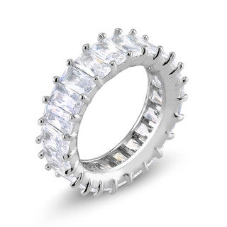 Rhodium-plated Emerald-cut CZ Eternity Ring