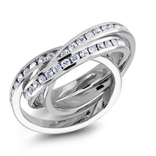 Preciosa Rhodium-plated Interlocking Tri-band Crystal Ring